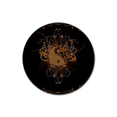 The Sign Ying And Yang With Floral Elements Rubber Round Coaster (4 Pack)  by FantasyWorld7