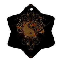The Sign Ying And Yang With Floral Elements Snowflake Ornament (two Sides) by FantasyWorld7