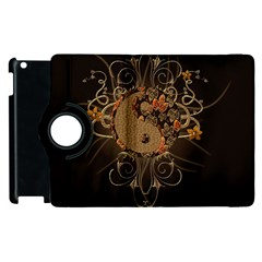 The Sign Ying And Yang With Floral Elements Apple Ipad 2 Flip 360 Case by FantasyWorld7