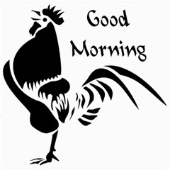 Black Rooster Crowing The Good Morning Alarm Canvas 16  X 16   by ComfortMelody