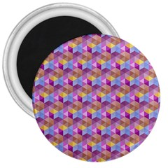 Hexagon Cube Bee Cell Pink Pattern 3  Magnets by Cveti