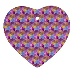 Hexagon Cube Bee Cell Pink Pattern Ornament (heart)
