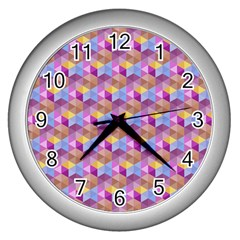 Hexagon Cube Bee Cell Pink Pattern Wall Clocks (silver)