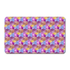 Hexagon Cube Bee Cell Pink Pattern Magnet (rectangular) by Cveti