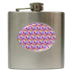 Hexagon Cube Bee Cell Pink Pattern Hip Flask (6 Oz)