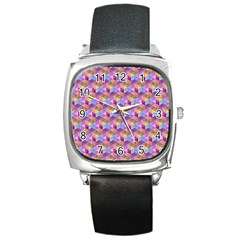 Hexagon Cube Bee Cell Pink Pattern Square Metal Watch
