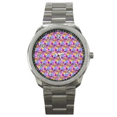 Hexagon Cube Bee Cell Pink Pattern Sport Metal Watch