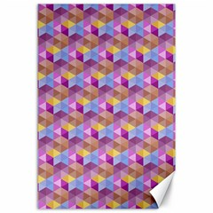Hexagon Cube Bee Cell Pink Pattern Canvas 24  X 36