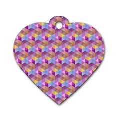 Hexagon Cube Bee Cell Pink Pattern Dog Tag Heart (one Side) by Cveti