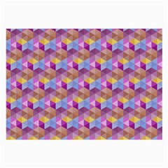 Hexagon Cube Bee Cell Pink Pattern Large Glasses Cloth (2 Side) by Cveti