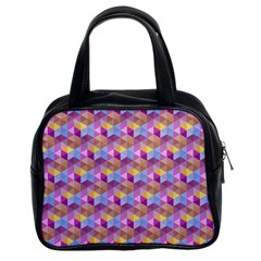 Hexagon Cube Bee Cell Pink Pattern Classic Handbags (2 Sides)