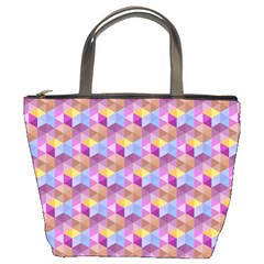 Hexagon Cube Bee Cell Pink Pattern Bucket Bags