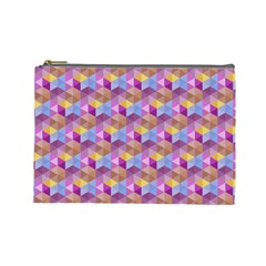 Hexagon Cube Bee Cell Pink Pattern Cosmetic Bag (large)