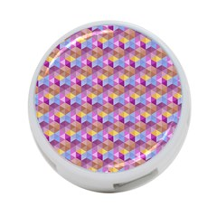 Hexagon Cube Bee Cell Pink Pattern 4 Port Usb Hub (two Sides)