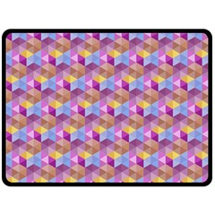 Hexagon Cube Bee Cell Pink Pattern Fleece Blanket (large)