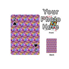 Hexagon Cube Bee Cell Pink Pattern Playing Cards 54 (mini)
