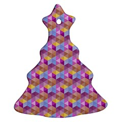 Hexagon Cube Bee Cell Pink Pattern Ornament (christmas Tree)