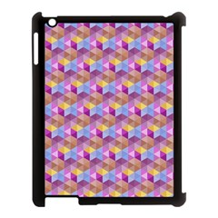 Hexagon Cube Bee Cell Pink Pattern Apple Ipad 3/4 Case (black) by Cveti
