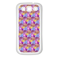 Hexagon Cube Bee Cell Pink Pattern Samsung Galaxy S3 Back Case (white)