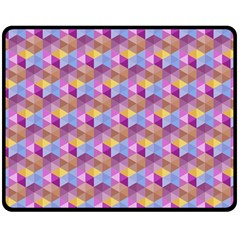 Hexagon Cube Bee Cell Pink Pattern Double Sided Fleece Blanket (medium)