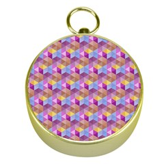 Hexagon Cube Bee Cell Pink Pattern Gold Compasses