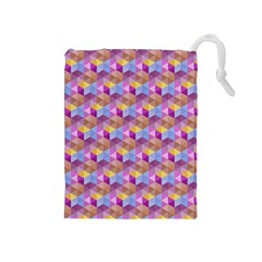 Hexagon Cube Bee Cell Pink Pattern Drawstring Pouches (medium)