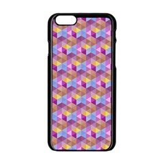Hexagon Cube Bee Cell Pink Pattern Apple Iphone 6/6s Black Enamel Case