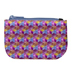 Hexagon Cube Bee Cell Pink Pattern Large Coin Purse