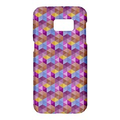 Hexagon Cube Bee Cell Pink Pattern Samsung Galaxy S7 Hardshell Case