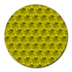 Hexagon Cube Bee Cell  Lemon Pattern Round Mousepads