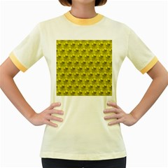 Hexagon Cube Bee Cell  Lemon Pattern Women s Fitted Ringer T Shirts
