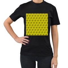 Hexagon Cube Bee Cell  Lemon Pattern Women s T Shirt (black) (two Sided)