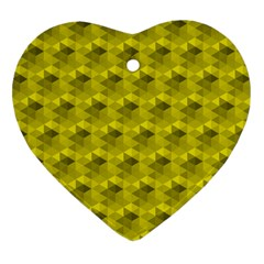 Hexagon Cube Bee Cell  Lemon Pattern Heart Ornament (two Sides)