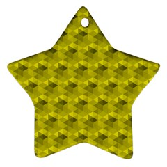 Hexagon Cube Bee Cell  Lemon Pattern Star Ornament (two Sides)