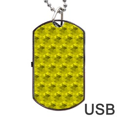 Hexagon Cube Bee Cell  Lemon Pattern Dog Tag Usb Flash (two Sides)