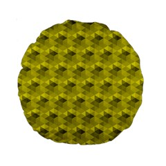 Hexagon Cube Bee Cell  Lemon Pattern Standard 15  Premium Round Cushions