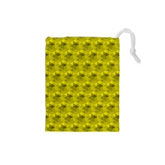 Hexagon Cube Bee Cell  Lemon Pattern Drawstring Pouches (small)