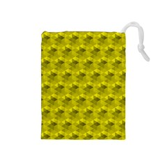 Hexagon Cube Bee Cell  Lemon Pattern Drawstring Pouches (medium)