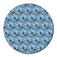 Hexagon Cube Bee Cell  Blue Pattern Round Mousepads