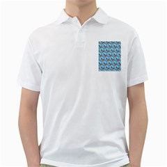 Hexagon Cube Bee Cell  Blue Pattern Golf Shirts