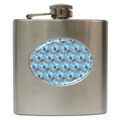 Hexagon Cube Bee Cell  Blue Pattern Hip Flask (6 Oz)