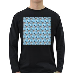 Hexagon Cube Bee Cell  Blue Pattern Long Sleeve Dark T Shirts