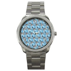 Hexagon Cube Bee Cell  Blue Pattern Sport Metal Watch by Cveti