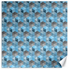 Hexagon Cube Bee Cell  Blue Pattern Canvas 12  X 12
