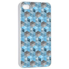 Hexagon Cube Bee Cell  Blue Pattern Apple Iphone 4/4s Seamless Case (white)