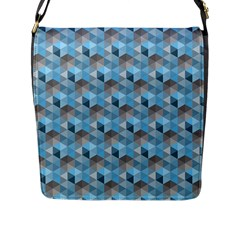 Hexagon Cube Bee Cell  Blue Pattern Flap Messenger Bag (l)