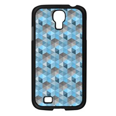 Hexagon Cube Bee Cell  Blue Pattern Samsung Galaxy S4 I9500/ I9505 Case (black)