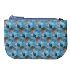 Hexagon Cube Bee Cell  Blue Pattern Large Coin Purse