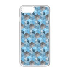 Hexagon Cube Bee Cell  Blue Pattern Apple Iphone 7 Plus Seamless Case (white)