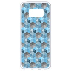 Hexagon Cube Bee Cell  Blue Pattern Samsung Galaxy S8 White Seamless Case